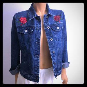 Forever21 denim jacket roses and tiger Sz S